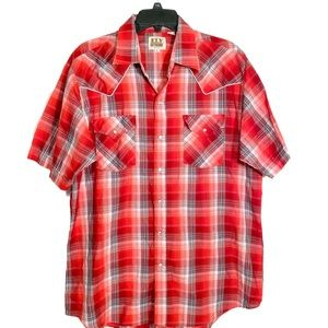 Ely Cattleman Western Pearl Snap Shirt Large Plaid